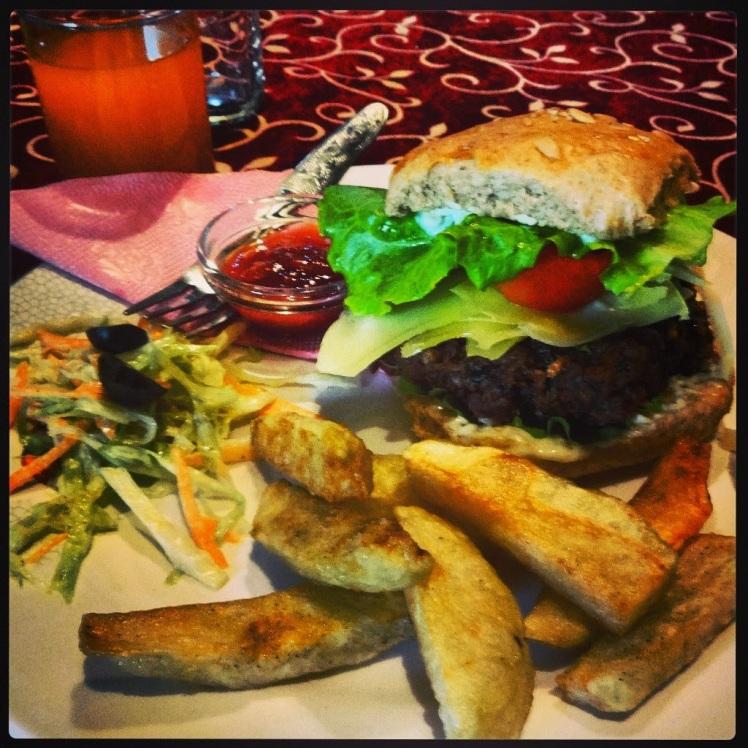 Yak Donalds, yak burger with yak cheese