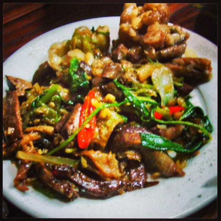 Snake skin and liver stir-fry