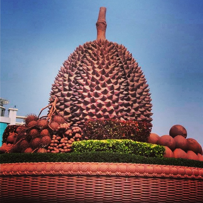Giant Durian statue in Kampot