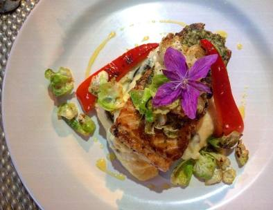 Arctic Char with Qunguliit crust, Dwarf Fireweed garnish