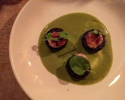 Scallops with Wild Boar Black Pudding